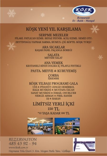 Köşk Restaurant 2012 Yılbaşı Programı