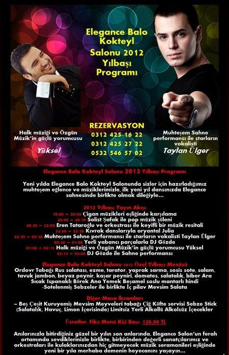 Elegance Kokteyl Balo Salonu 2012 Yılbaşı Programı