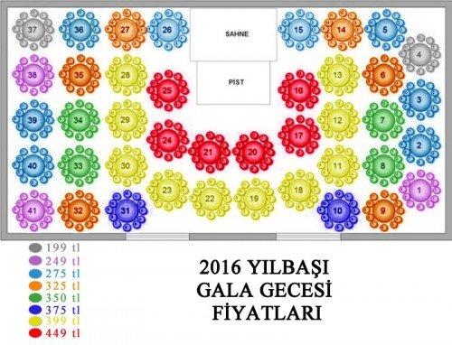 Hilton Ankara Yılbaşı Oturma Planı
