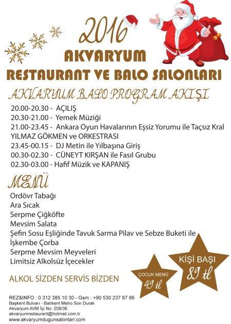 Akvaryum Restaurant Yılbaşı Programı 2016