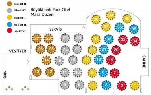 Büyükhanlı Park Otel 2014 Yılbaşı Masa Düzeni