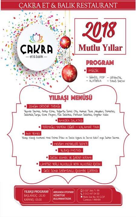 Çakra Restaurant Ankara Yılbaşı 2018