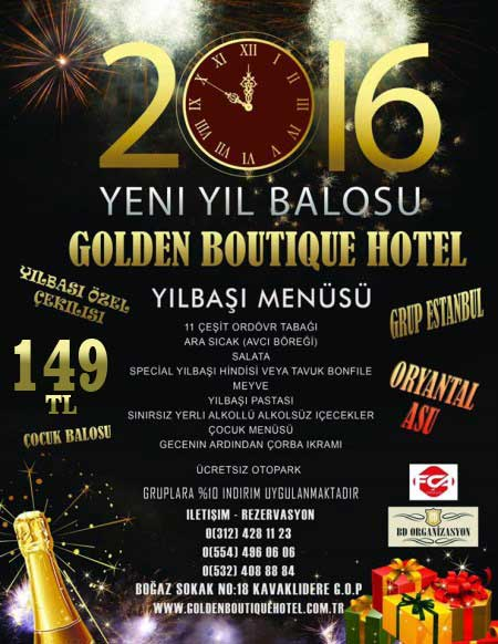 Golden Boutique Hotel Ankara Yılbaşı 2016
