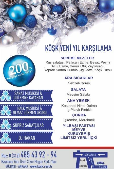 Köşk Restaurant Gölbaşı Yılbaşı 2018