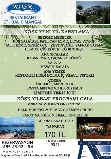 Köşk Restaurant 2013 yılbaşı programı