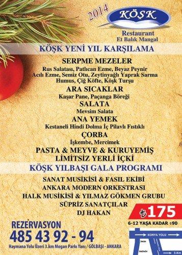 Gölbaşı Köşk Restaurant yılbaşı