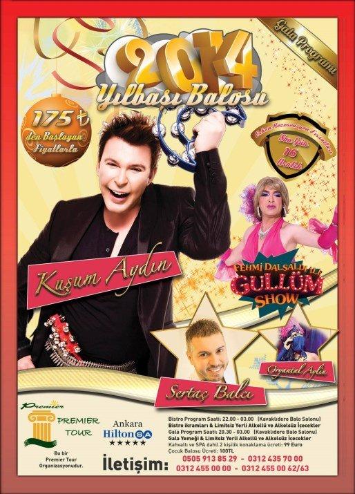 Ankara Hilton Oteli Kavaklıdere Balo Salonu 2014 Yılbaşı Programı