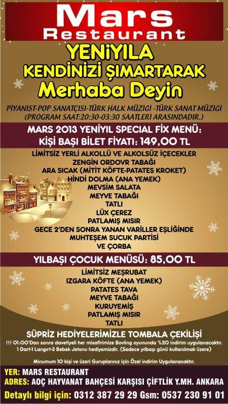 Mars Restaurant 2013 Yılbaşı Programı