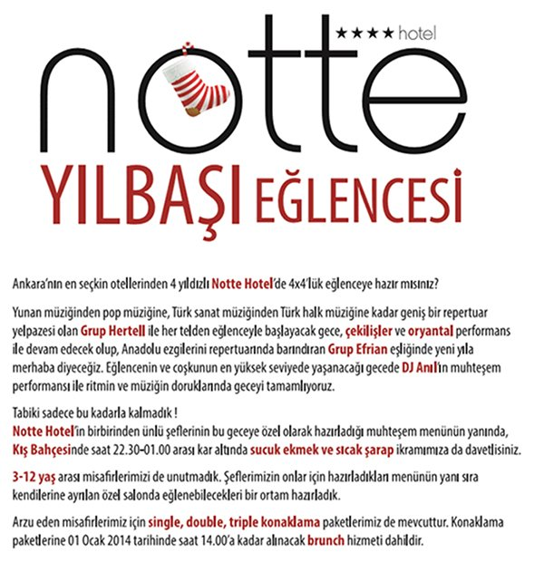 Notte Otel 2014 Yılbaşı Programı