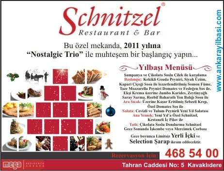 Schnitzel Restaurant & Bar Ankara 2011 Yılbaşı Programı
