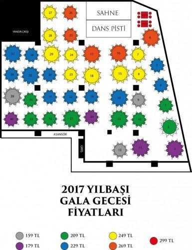 Vivaldi Hotel Yılbaşı 2017 Masa Düzeni