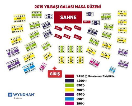 Wyndham Ankara Yılbaşı 2019 Masa Düzeni